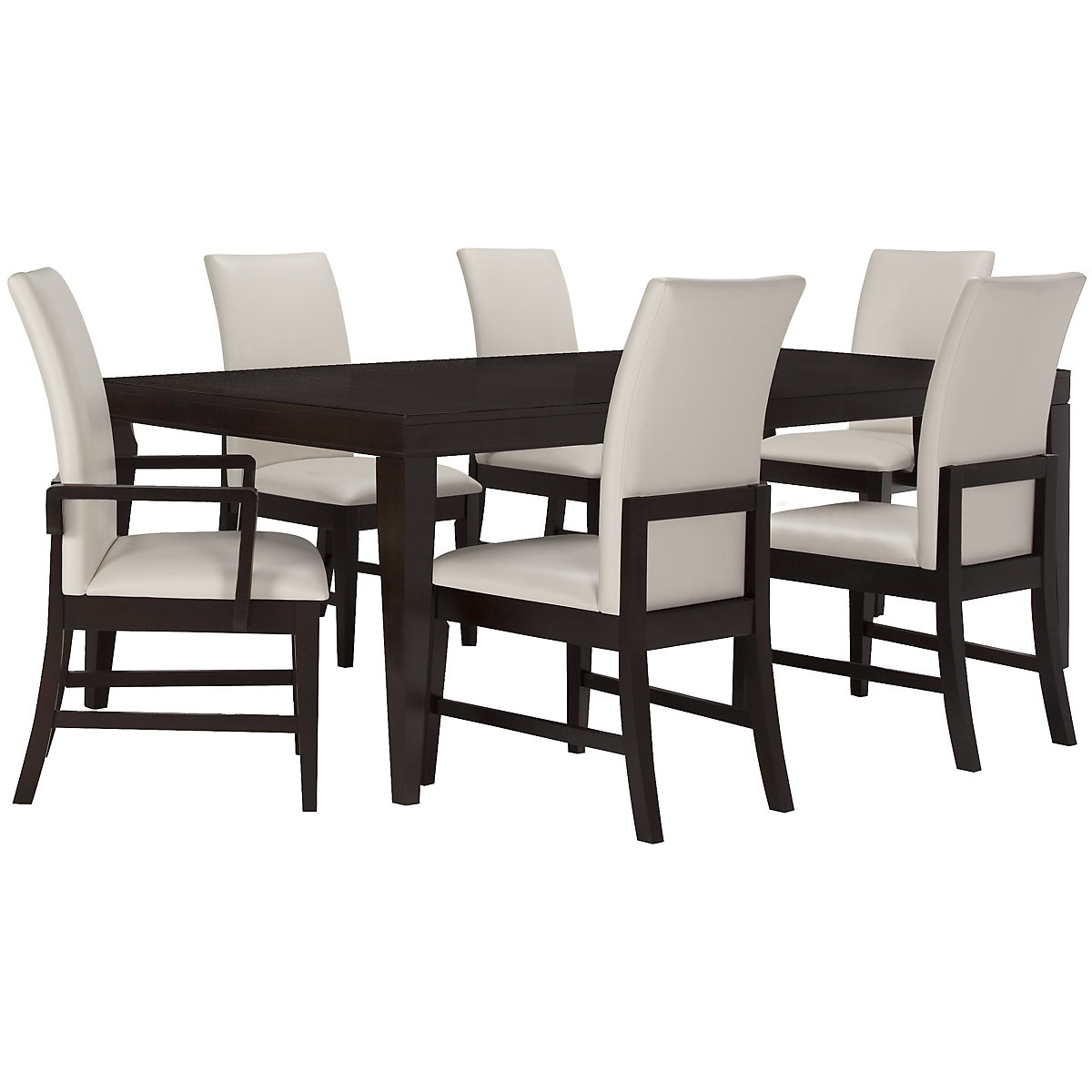 Encore2 Dark Tone Rectangular Table & 4 Upholstered Chairs