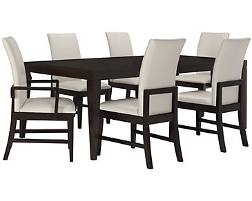 Encore2 Dark Tone Rectangular Table & 4 Upholstered Chairs