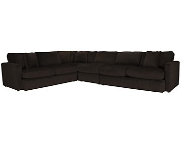 Tara2 Dark Brown Microfiber Large Two-Arm Sectional