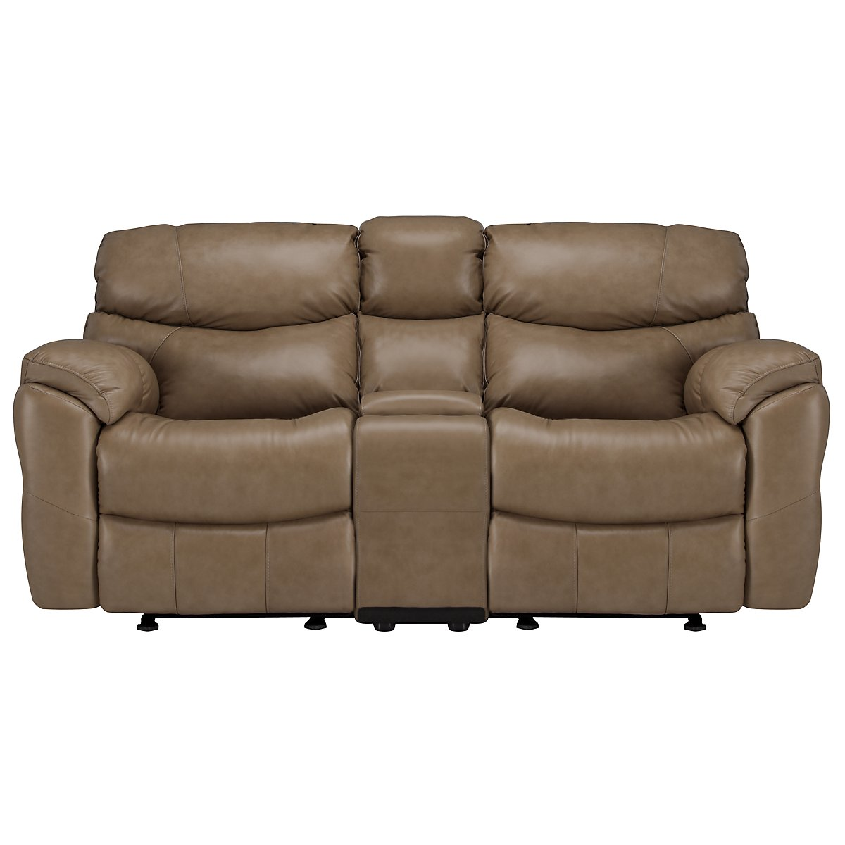 Derek Dark Taupe Leather & Vinyl Reclining Console Loveseat