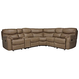 Derek Dark Taupe Leather & Vinyl Two-Arm Manually Reclining Sectional