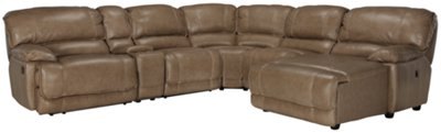 benson dark taupe leather u0026 vinyl right chaise manually reclining sectional