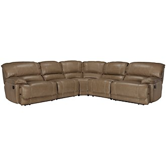 Benson Dark Taupe Leather & Vinyl Small Two-Arm Manually Reclining Sectional