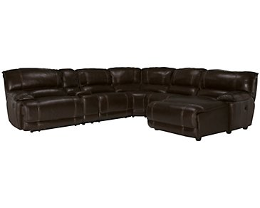 Benson Dark Brown Leather & Vinyl Right Chaise Manually Reclining Sectional