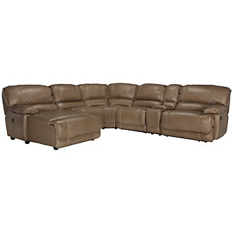 Benson Dark Taupe Leather & Vinyl Left Chaise Power Reclining Sectional