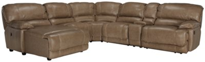 Benson Dark Taupe Leather U0026 Vinyl Left Chaise Power Reclining Sectional
