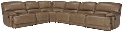 Benson Dark Taupe Leather & Vinyl Large Two-Arm Power Reclining Sectional