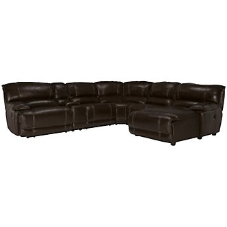 Benson Dark Brown Leather & Vinyl Right Chaise Power Reclining Sectional