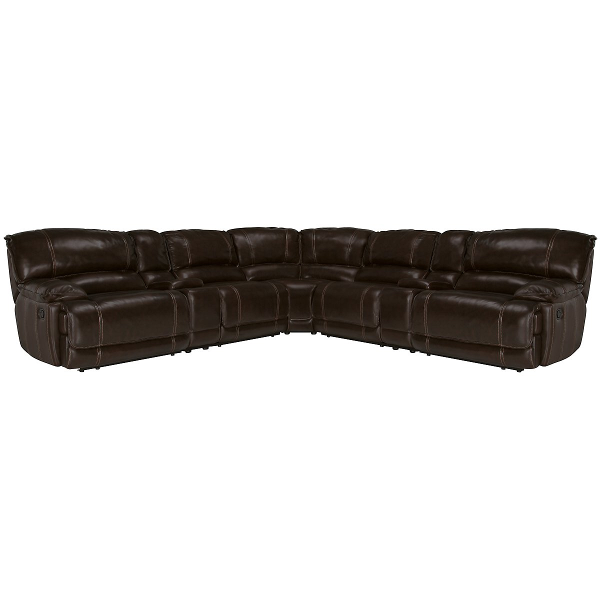 Benson Dark Brown Leather & Vinyl Large Two-Arm Manually Reclining Sectional