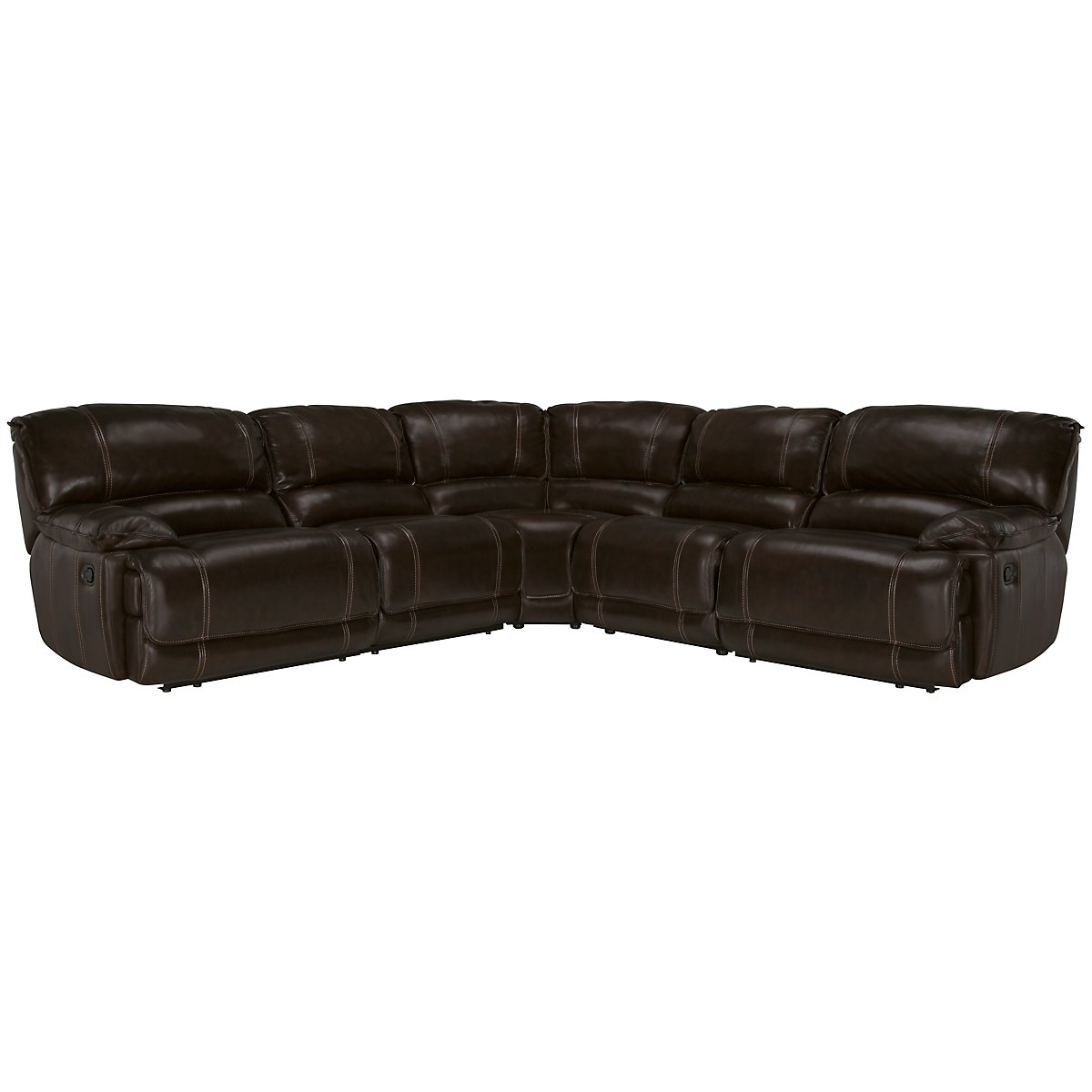 Benson Dark Brown Leather & Vinyl Small Two-Arm Power Reclining Sectional