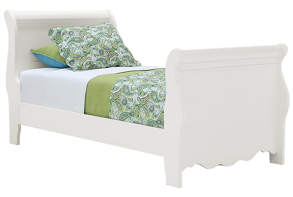 Lauren White Wood Sleigh Bed