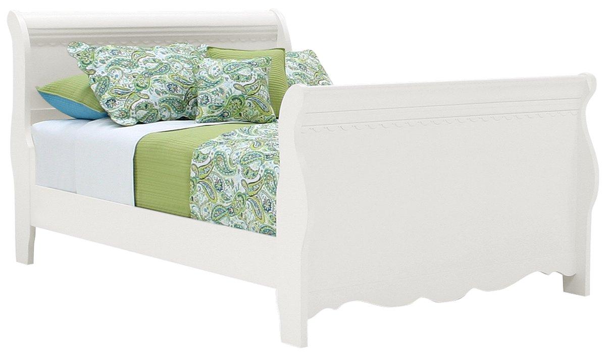 Lauren White Wood Sleigh Bed
