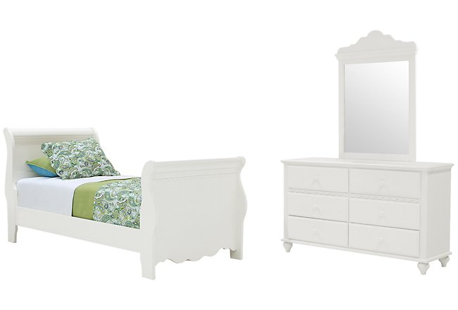 Lauren White Wood Sleigh Bedroom