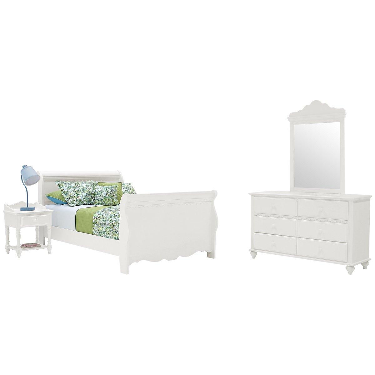 Lauren White Wood Sleigh Bedroom