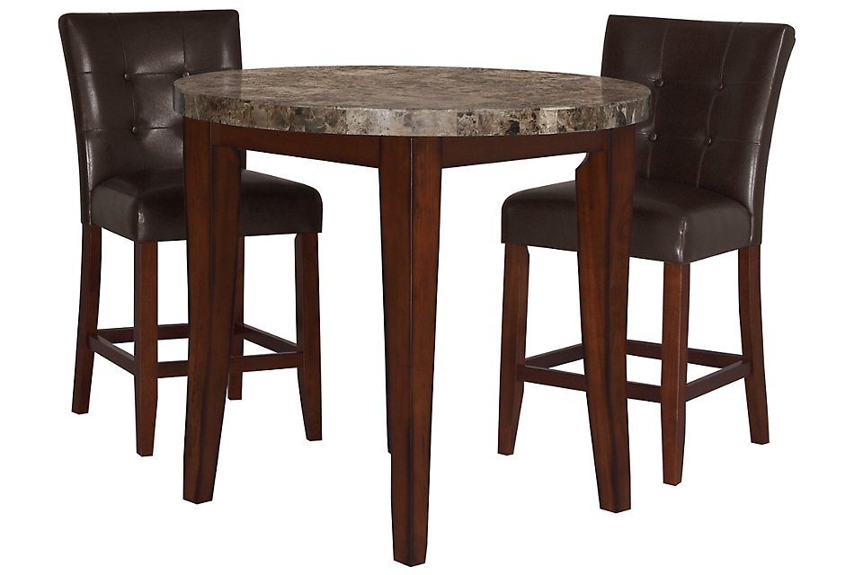 City Lights Round Marble High Dining Table 2 Upholstered