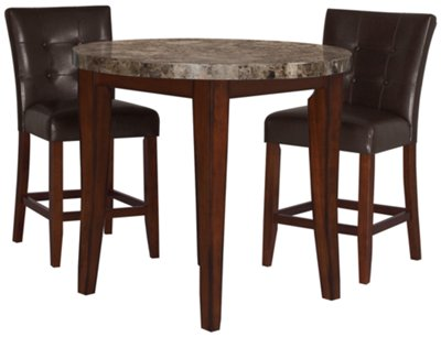 City Lights Round Marble High Dining Table U0026 2 Upholstered Barstools
