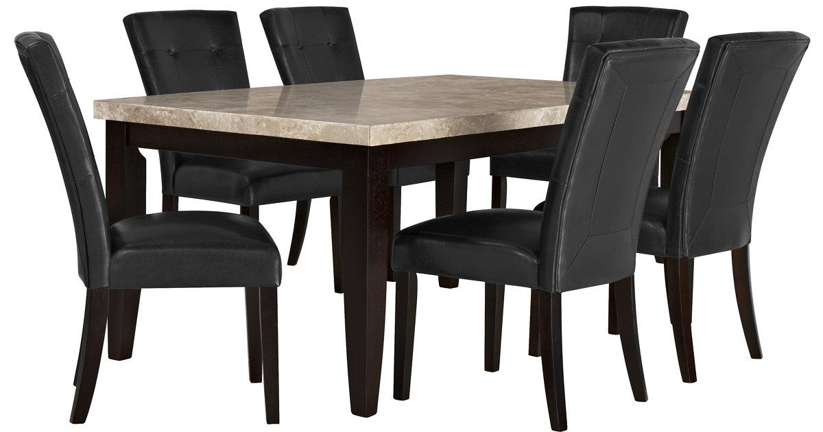 monark rect marble table & 4 uph chrs