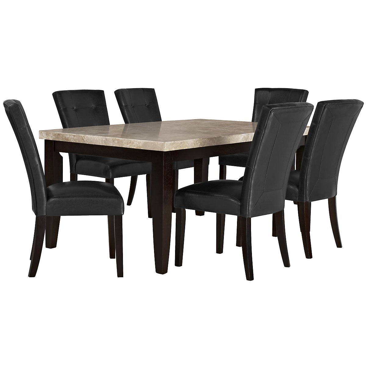 Monark Rectangular Marble Table & 4 Upholstered Chairs