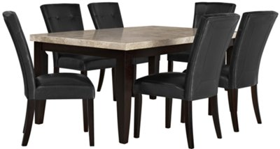 Monark Rectangular Marble Table U0026 4 Upholstered Chairs