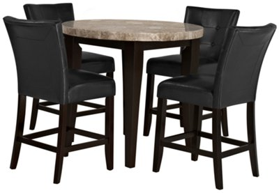 Good Round Dining Table For 2 Part - 7: Monark Round Marble High Dining Table U0026 2 Upholstered Barstools