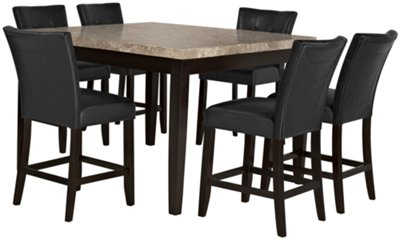Monark Marble Square High Dining Table  sc 1 st  City Furniture & monark square marble high dining table