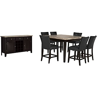 Monark Square Marble High Dining Room
