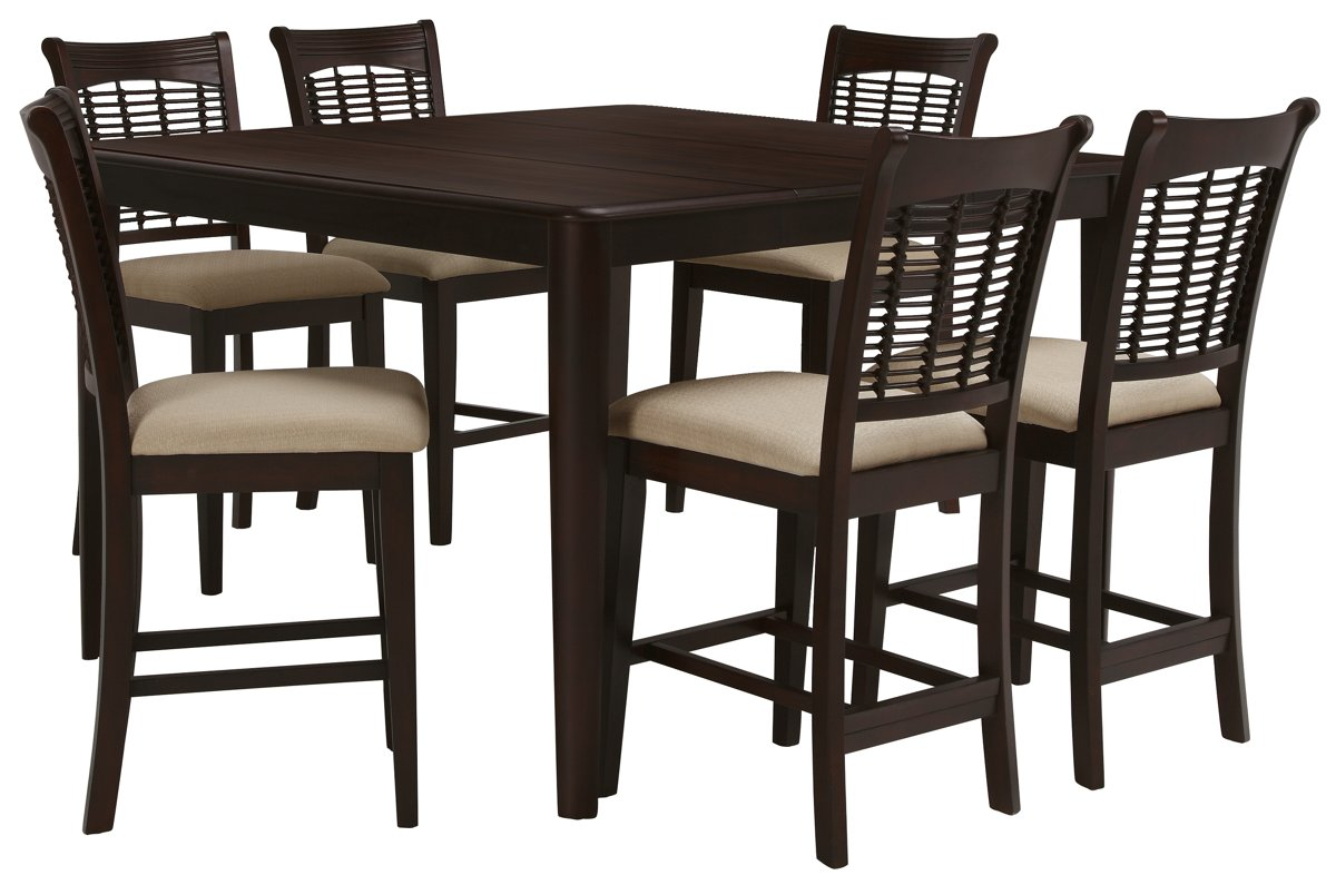Bayberry Dark Tone High Table & 4 Barstools