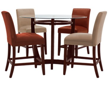 Park Glass Round High Table & 4 Barstools
