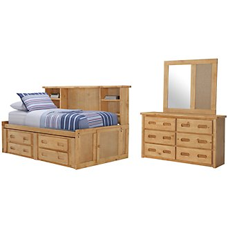 Cinnamon Mid Tone Bookcase Daybed Storage Bedroom