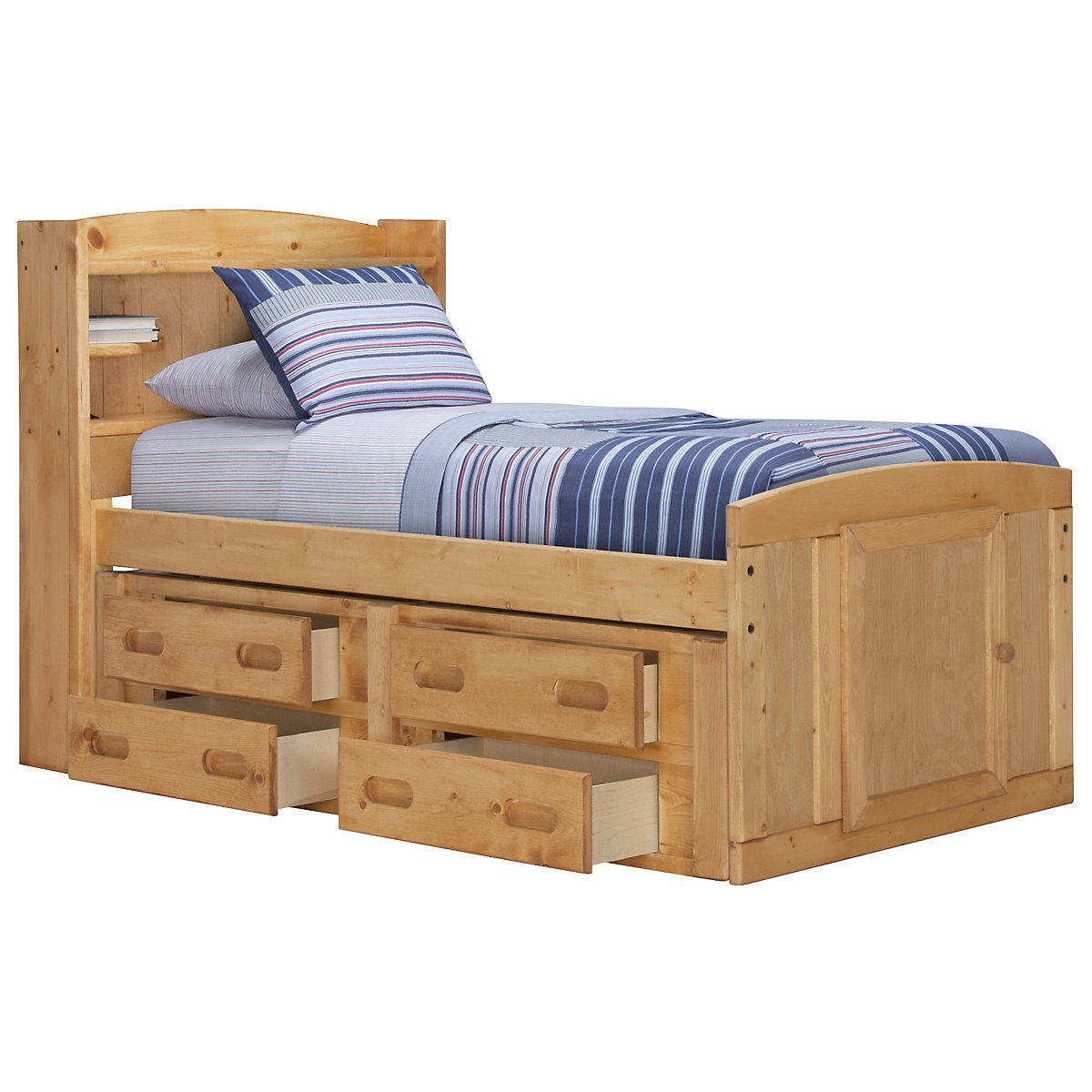 Cinnamon Mid Tone Bookcase Storage Bed