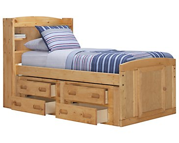 Cinnamon Mid Tone Bookcase Storage Bed