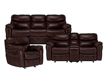 Derek Dark Brown Leather & Vinyl Manually Reclining Living Room