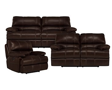 Alton2 Dark Brown Leather & Vinyl Manually Reclining Living Room