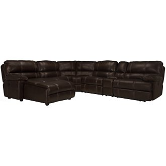 Alton2 Dark Brown Leather & Vinyl Left Chaise Manually Reclining Sectional