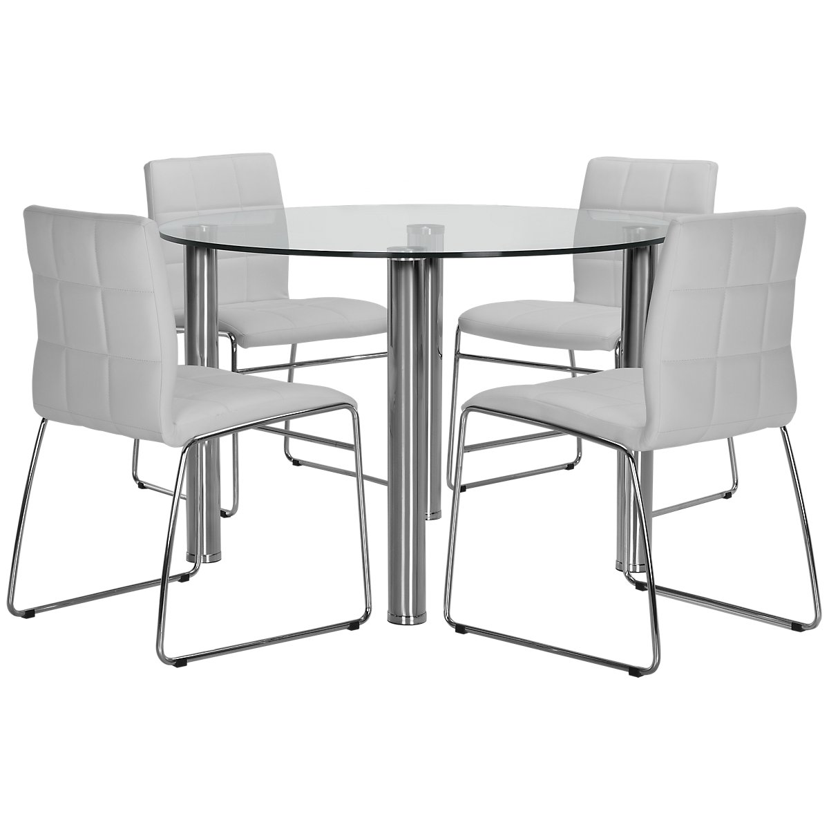 Napoli White Glass Table & 4 Upholstered Chairs