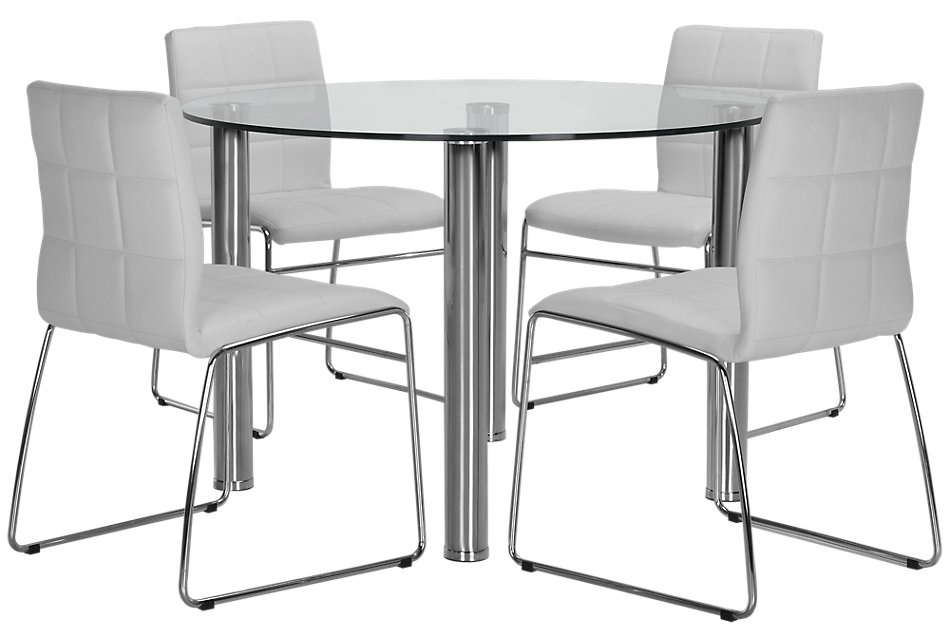 Napoli WHITE ROUND Table & 4 Upholstered Chairs | Dining ...
