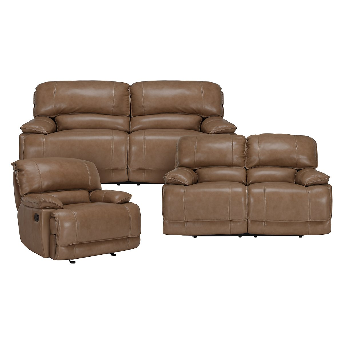 Benson Dark Taupe Leather & Vinyl Manually Reclining Living Room