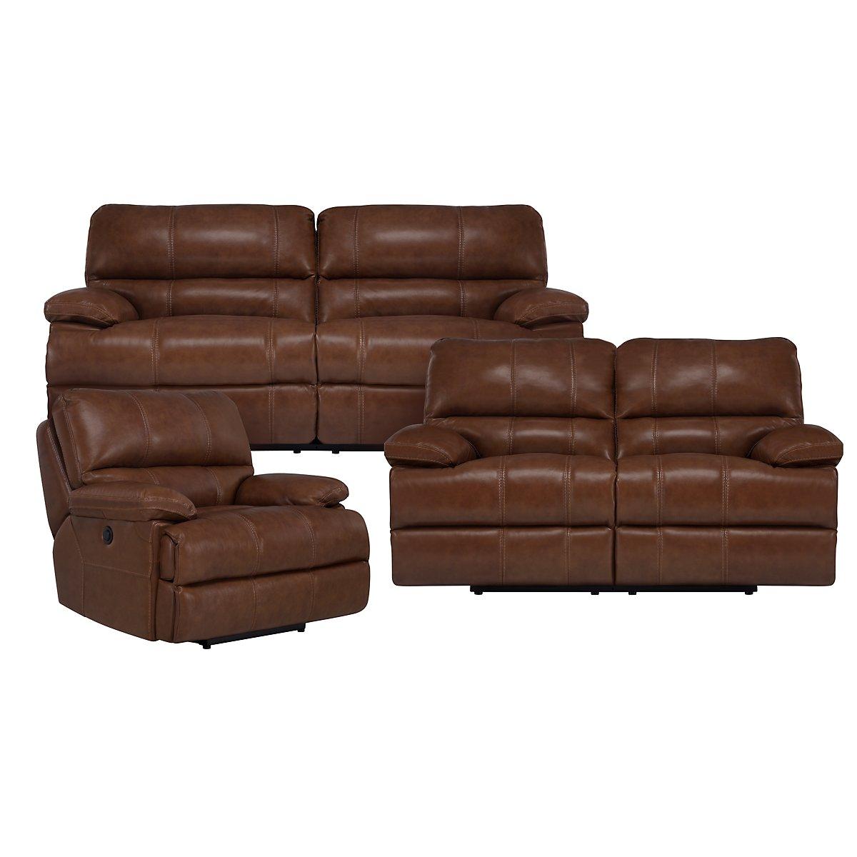 Alton2 Medium Brown Leather & Vinyl Power Reclining Living Room