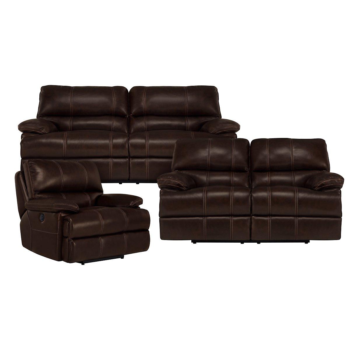 Alton2 Dark Brown Leather & Vinyl Power Reclining Living Room