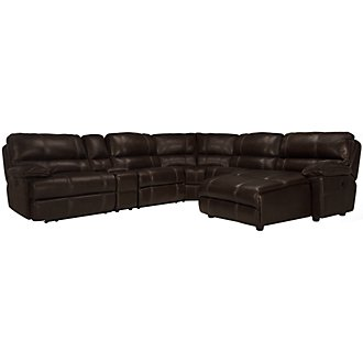 Alton2 Dark Brown Leather & Vinyl Right Chaise Power Reclining Sectional