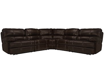 Alton2 Dark Brown Leather & Vinyl Small Two-Arm Power Reclining Sectional