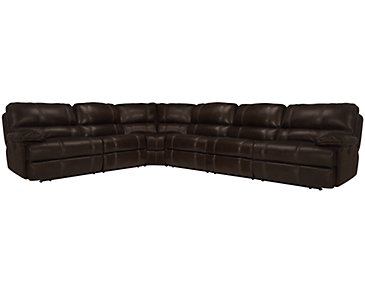 Alton2 Dark Brown Leather & Vinyl Large Two-Arm Power Reclining Sectional