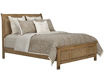 Isle Light Tone Panel Bed