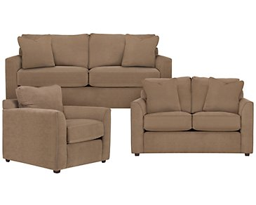 Express3 Light Brown Microfiber Living Room