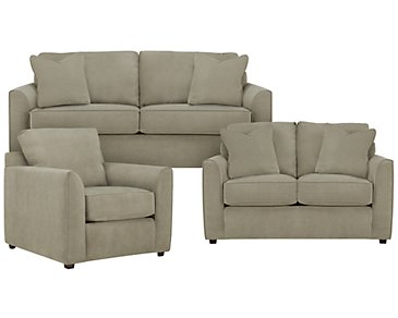 Express3 Light Green Microfiber Living Room