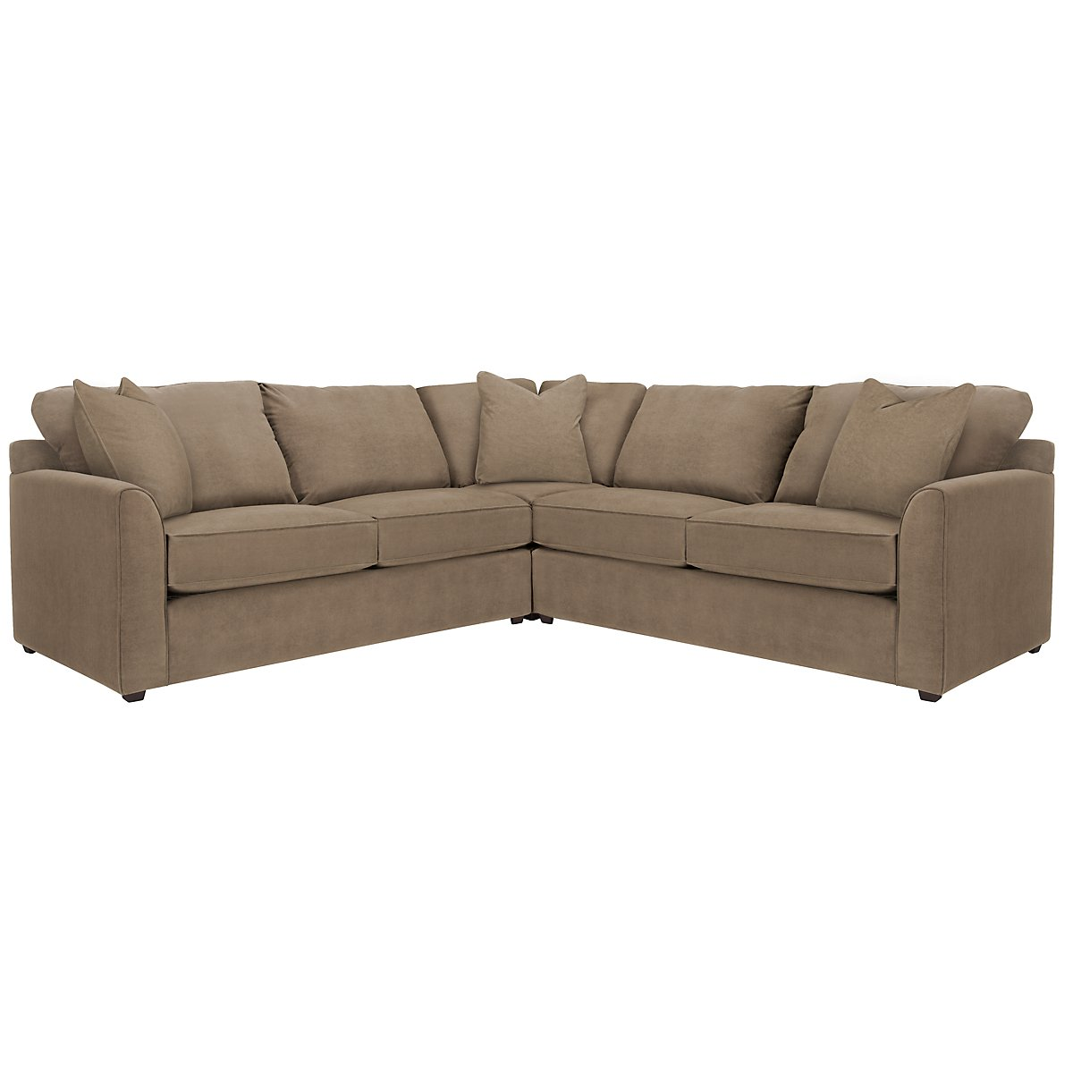 Express3 Light Brown Microfiber Small Two-Arm Sectional