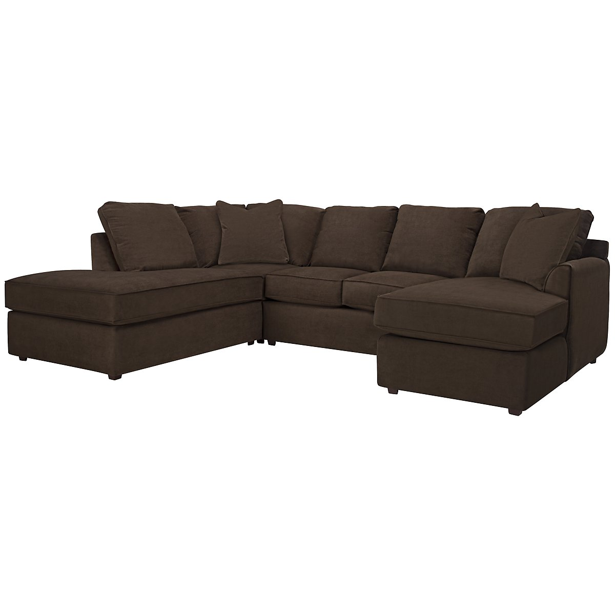 Express3 Dark Brown Microfiber Small Left Bumper Sectional