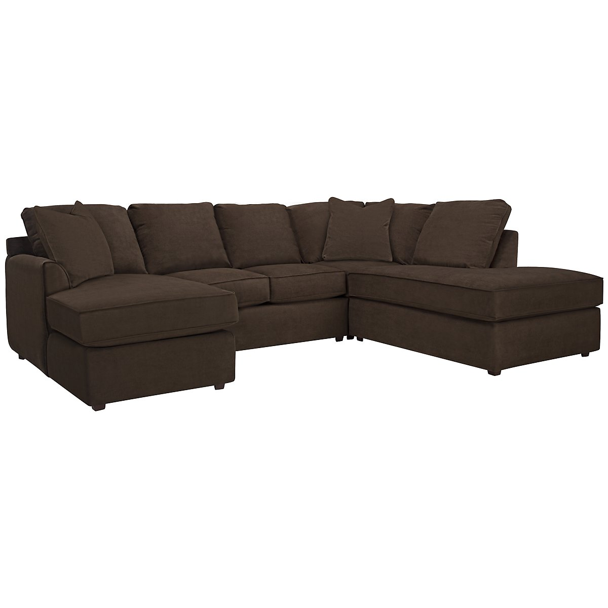 Express3 Dark Brown Microfiber Small Right Bumper Sectional