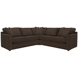 Express3 Dark Brown Microfiber Small Two-Arm Sectional