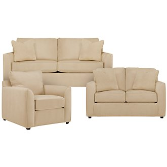Express3 Light Beige Microfiber Living Room